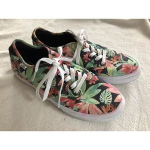 Floral tropical print vans laces lace up size 10